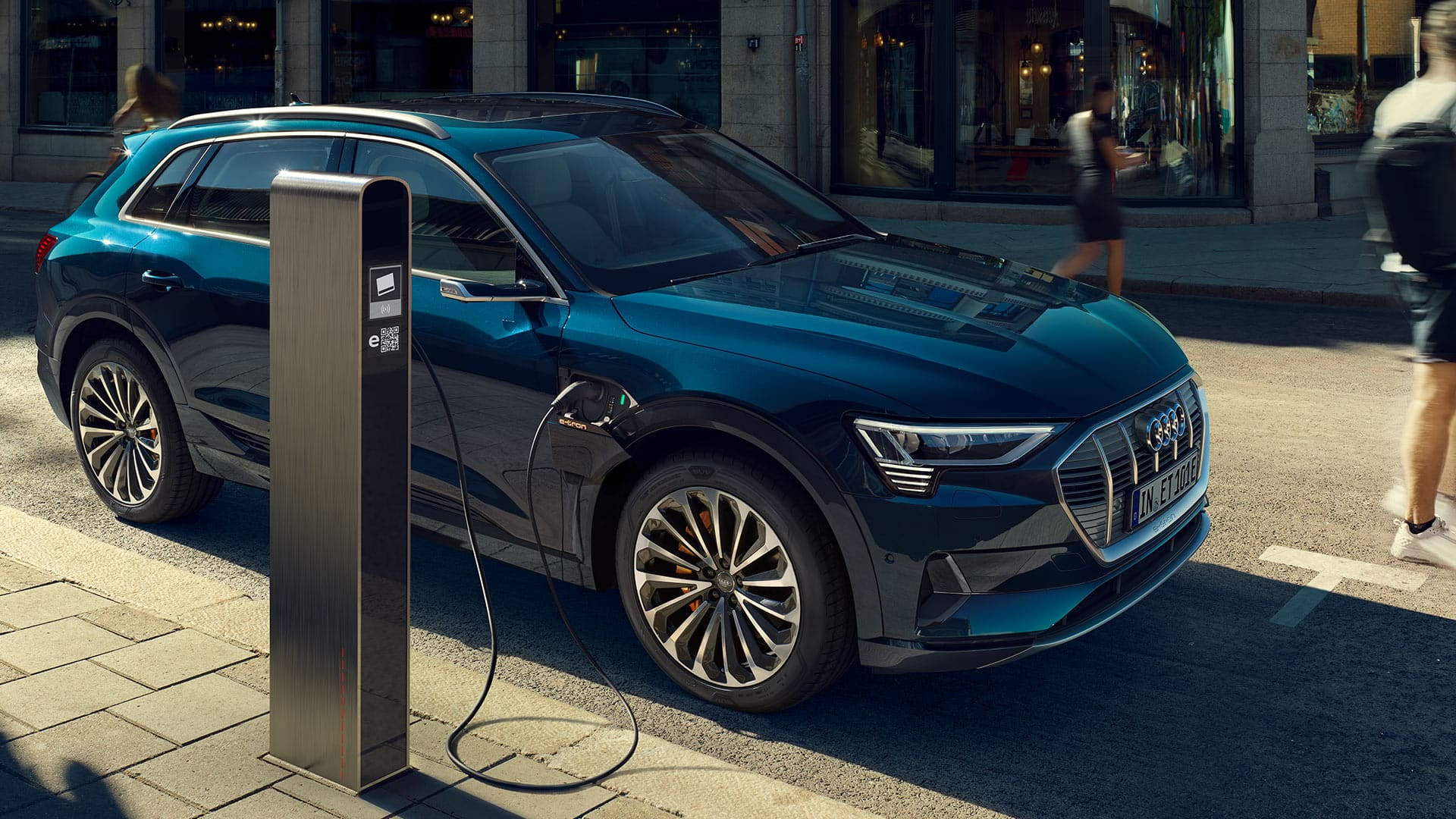 The Audi e-tron at a public charging station